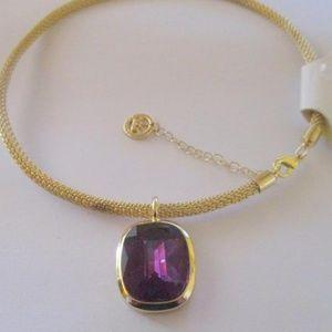New Crown Trifari Drop Pendant Necklace Gold Mesh